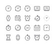 Minimal Set of Time and Clock Line Icons