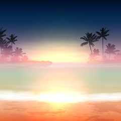 Tropical background with sea and palm trees. Sunset time.