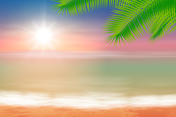 Beach and tropical sea with bright sun and palmtree leaves