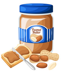 Illustration of a jar of peanut butter,bread and butter isolated on a white background Design template in EPS10.