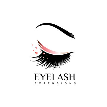 Eyelash extension logo. Makeup with a pearl shade. Vector illustration in a modern style