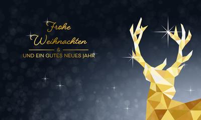Weihnachtskarte Hirsch - Gold/Blau (DE)