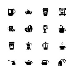 Tea and Coffee icons - Expand to any size - Change to any colour. Flat Vector Icons - Black Illustration on White Background.