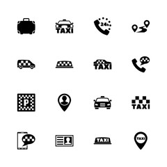 Taxi icons - Expand to any size - Change to any colour. Flat Vector Icons - Black Illustration on White Background.