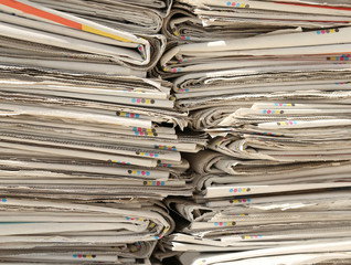 collection of newspapers already read in the recycling of used p