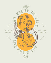 Fixie city bicycle t-shirt print. Go where you like - like where you go.