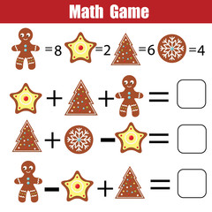 Math educational game for children. Mathematical counting equations. Christmas, winter holidays theme