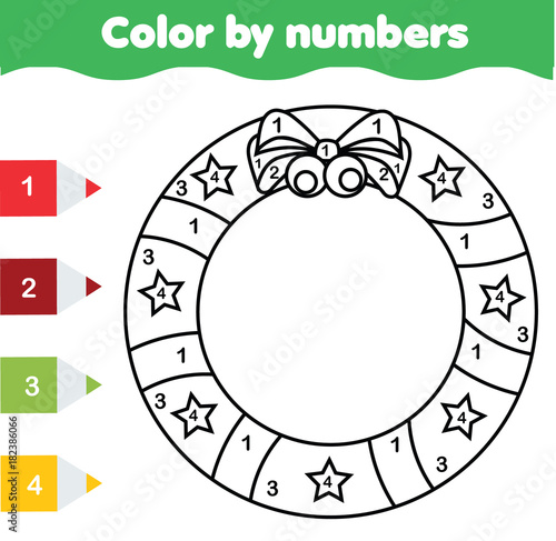Children Educational Game Coloring Page With Christmas Wreath Color By Numbers Printable Activity