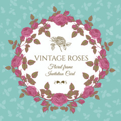 Vector floral card with a round frame of pink roses in vintage style
