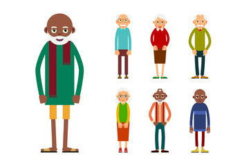 Set of diverse elderly people isolated on white background