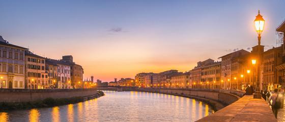Fototapete - Sunset Panorama in Pisa, Italy