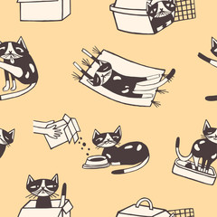 Seamless pattern with funny cat washing itself, eating, sleeping, sitting inside carton box and carrier. Cute cartoon pet animal in various poses hand drawn on yellow background. Vector illustration.