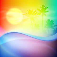 Water wave and island with palm trees. Colorful background.