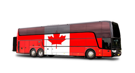Black Travel  bus with the Canadian flag on side