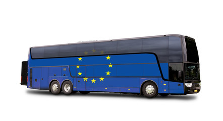 Black Travel  bus with the European flag on side