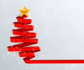 Christmas tree made of red ribbon on bright background. New year and christmas greeting card or party invitation.
