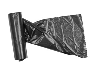 Black roll of plastic garbage bag isolated on white background, top view