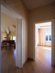 Corridor and rooms with upholstery
