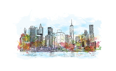 Watercolor splash with hand drawn sketch of New York City skyline front of sea water in vector illustration.