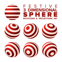 Vector 3d Christmas red and white striped ball rotations and projections set