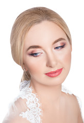 girl with wedding makeup isolated on white