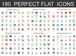 180 modern flat icons set of seo optimization, web development, digital marketing, network technology, cyber security and productivity icons.