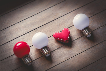 Heart shape toy and bulbs
