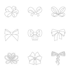 Bow, ribbon, decoration, and other web icon in outline style.Giftbows, node, ornamentals, icons in set collection.