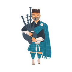 vector cartoon scotland man bagpiper in national traditional clothing holding scottish musical instrument bagpipe. Isolated illustration on a white background.