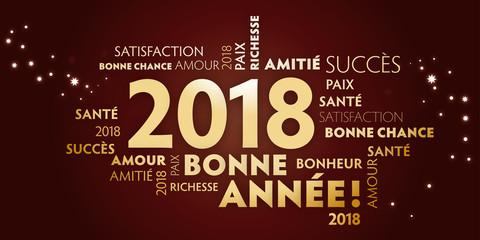 Carte de voeux – bonne année 2018 - feuille-morte et dorée.