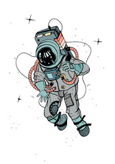 Astronaut in spacesuit. Cosmonaut in space on the white background. Colorful vector illustration.