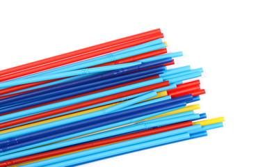 Drinking straws isolated on white background, top view