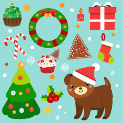 Christmas clip art. 2018 new year stickers, design elements. Dog, spruce, wreath, candy canes and other symbols for decoration and stickers