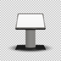 Realistic 3d Interactive Information Kiosk Terminal Stand Screen Display Console Infokiosk isolated on transparent background. Vector illustration.