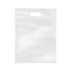 Realistic 3d plastic bag isolated on white background. Vector illustration.