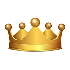 Realistic 3D Gold crown isolated on white background. Vector illustration.