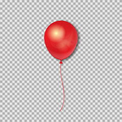 Realistic 3D Red Ballon isolated on transparent background. Vector illustration.