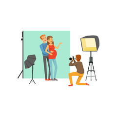 Happy young couple, man and pregnant woman in photo studio. Photographer sitting on his knee and taking family picture by camera. Cartoon people characters. Flat vector