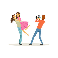 Romantic young couple, guy holding girl in his arms for photo shoot. Professional man photographer taking picture. People characters. Isolated flat vector