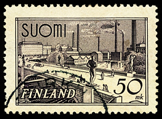 Tampere Bridge on postage stamp