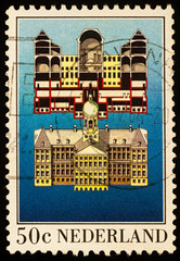 Royal Palace in Amsterdam on postage stamp