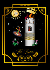 the illustration - card for tarot - the tower.
