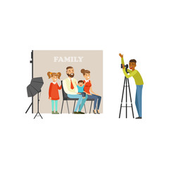Family photo shoot in studio. Happy father, mother, daughter and little son looking into camera. Cartoon vector of flat people characters. Professional equipment backdrop and reflective umbrella