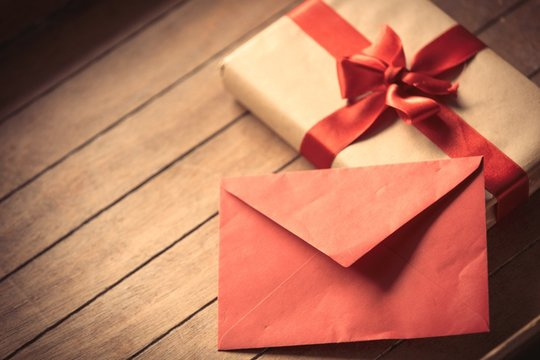 Red envelope and Christmas gift box