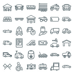 Set of 36 car outline icons