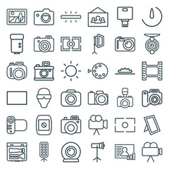 Set of 36 camera outline icons