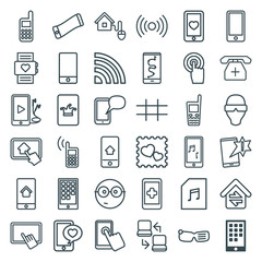 Set of 36 smart outline icons