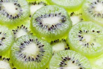 Green kiwi fruit slice. Freshness fruit background