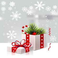 Christmas Background Card Design with Gift Box