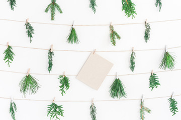 Christmas garland made of different winter plants on white background. Christmas, winter, new year concept. Flat lay, top view
